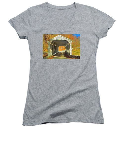 Women's V-Neck T-Shirt (Junior Cut) featuring the photograph  Covered Bridge Watercolor  by David Zanzinger