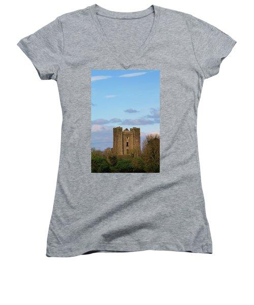 Dunsoghly Castle Women's V-Neck T-Shirt (Junior Cut) by Martina Fagan
