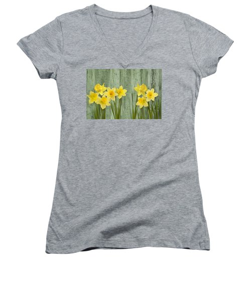 Fresh Spring Daffodils Women's V-Neck (Athletic Fit)