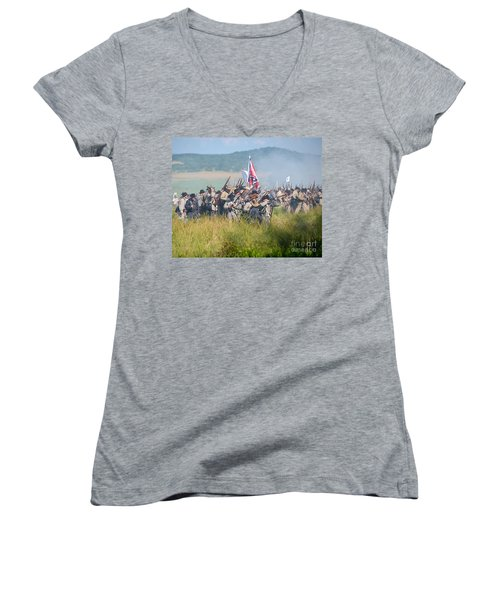 Gettysburg Confederate Infantry 9214c Women's V-Neck (Athletic Fit)