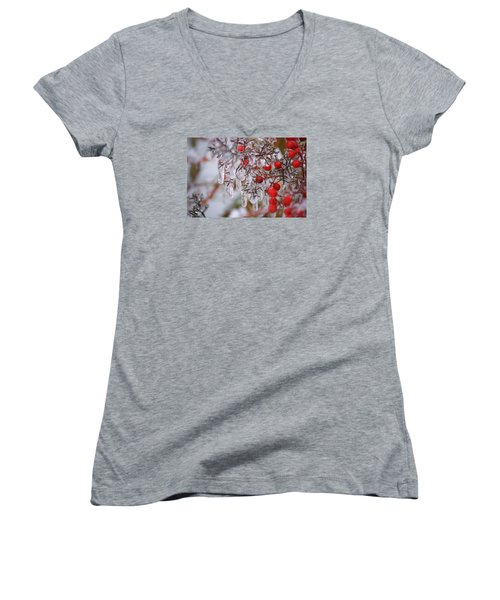 Holiday Ice Women's V-Neck T-Shirt (Junior Cut) by Heidi Poulin