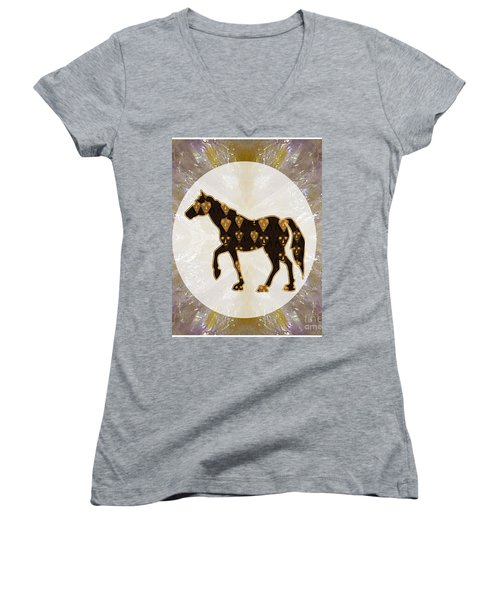 Horse Prancing Abstract Graphic Filled Cartoon Humor Faces Download Option For Personal Commercial  Women's V-Neck T-Shirt (Junior Cut) by Navin Joshi