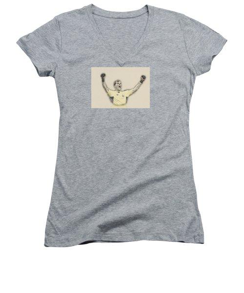 Iker Casillas  Women's V-Neck T-Shirt (Junior Cut) by Don Kuing