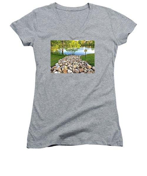 Women's V-Neck T-Shirt (Junior Cut) featuring the photograph  Keep Off The Rocks - No.430 by Joe Finney