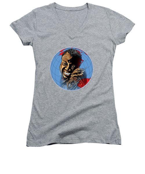 Women's V-Neck T-Shirt (Junior Cut) featuring the painting  Louis. by Andrzej Szczerski