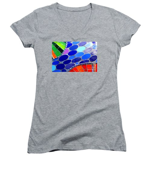 Mosaic Abstract Of The Blue Green Red Orange Stones Women's V-Neck T-Shirt (Junior Cut) by Michael Hoard