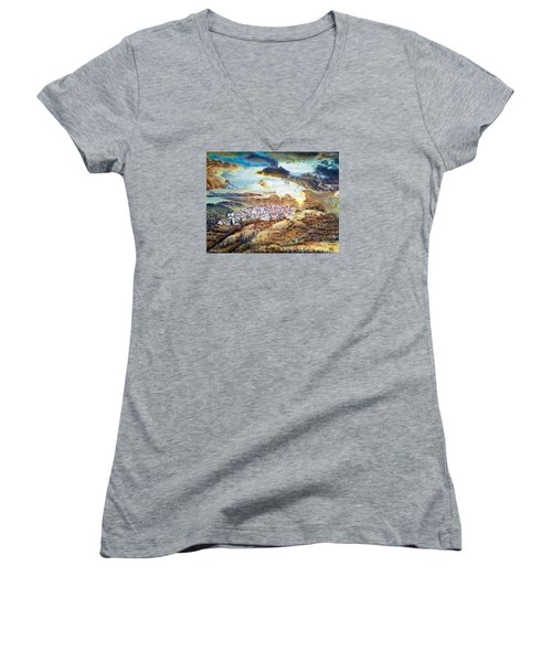 Moving Clouds Women's V-Neck (Athletic Fit)