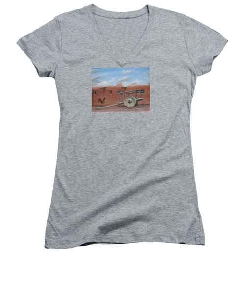 Old Spanish Cart  Women's V-Neck T-Shirt (Junior Cut) by Oz Freedgood