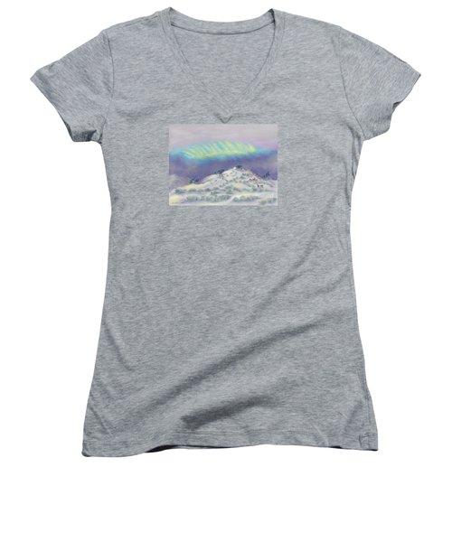 Peaceful Snowy Sunrise Women's V-Neck T-Shirt (Junior Cut) by Dawn Senior-Trask