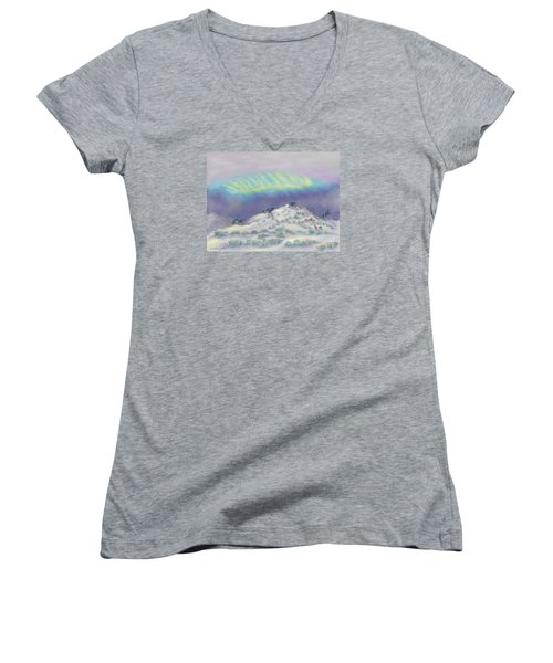 Peaceful Snowy Sunrise Women's V-Neck T-Shirt