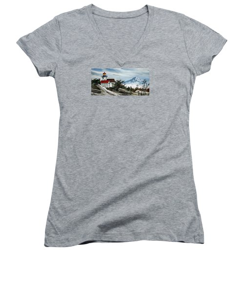 Point Robinson Lighthouse And Mt. Rainier Women's V-Neck (Athletic Fit)