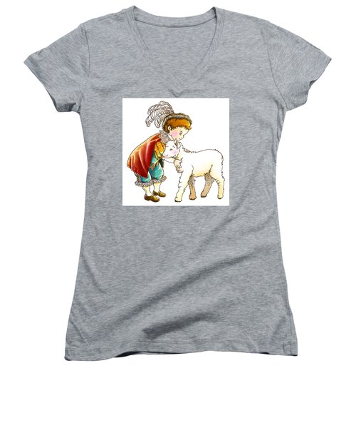 Prince Richard And His New Friend Women's V-Neck T-Shirt (Junior Cut) by Reynold Jay