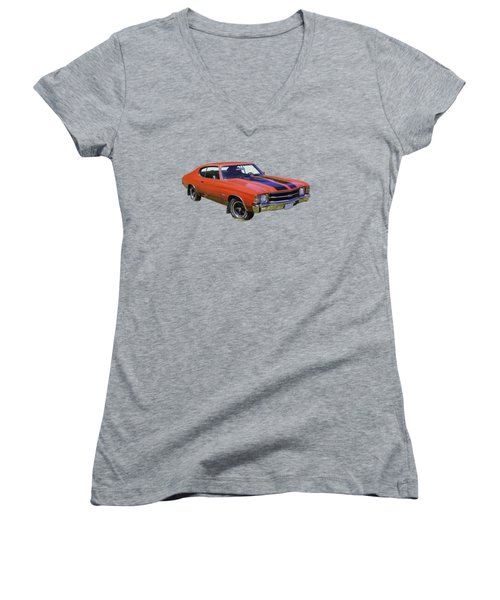Red 1971 Chevrolet Chevelle Ss Women's V-Neck T-Shirt