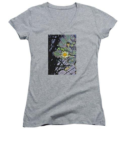 September White Water Lily Women's V-Neck T-Shirt (Junior Cut) by Janis Nussbaum Senungetuk