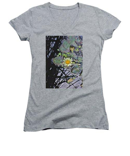 September White Water Lily Women's V-Neck