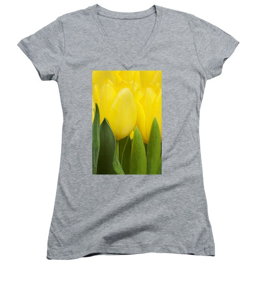 Spring Yellow Tulips Women's V-Neck (Athletic Fit)