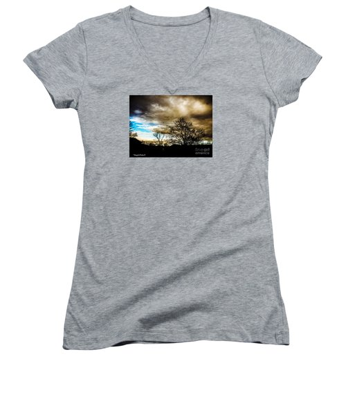 Storm  Coming  Women's V-Neck T-Shirt (Junior Cut) by MaryLee Parker