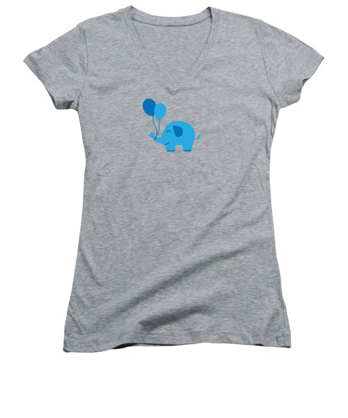 Sweet Funny Baby Elephant With Balloons Women's V-Neck (Athletic Fit)