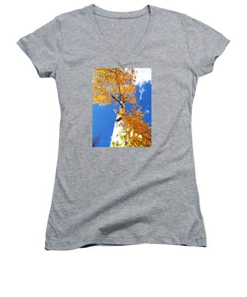 Women's V-Neck T-Shirt (Junior Cut) featuring the photograph  The Aspen Crown Dixie National Forest Utah by Deborah Moen