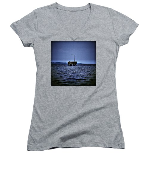 Women's V-Neck T-Shirt (Junior Cut) featuring the photograph  The Dock Of Loneliness by Jouko Lehto