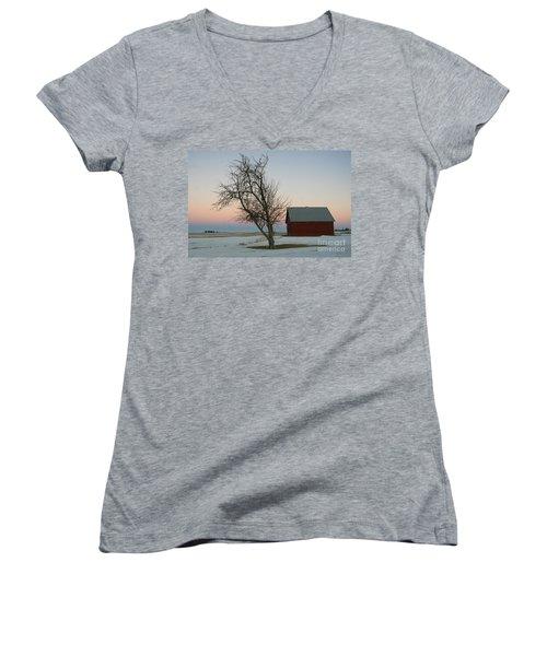Winter In Rural America Women's V-Neck T-Shirt (Junior Cut)