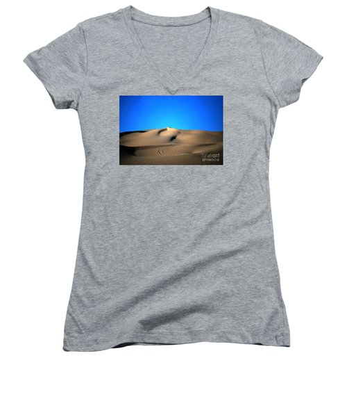 Yuma Dunes Number One Bright Blue And Tan Women's V-Neck T-Shirt (Junior Cut) by Heather Kirk