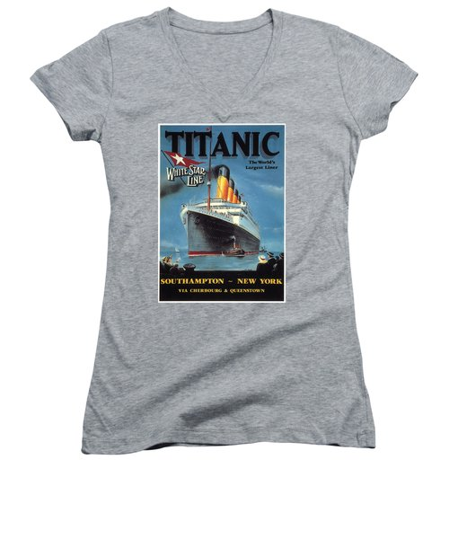 0065186 Women's V-Neck T-Shirt (Junior Cut) by Titanic
