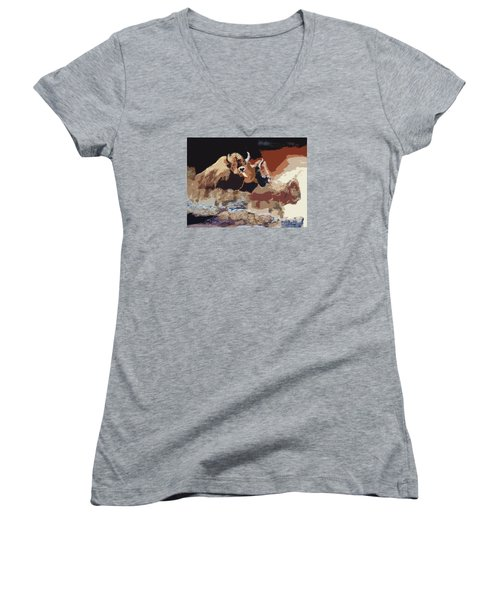 010316 Ancient Buffalo Hunt Women's V-Neck T-Shirt (Junior Cut) by Garland Oldham