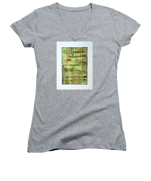 Women's V-Neck T-Shirt (Junior Cut) featuring the painting 01328 Slide by AnneKarin Glass