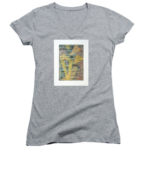 Women's V-Neck T-Shirt (Junior Cut) featuring the painting 01333 Left by AnneKarin Glass