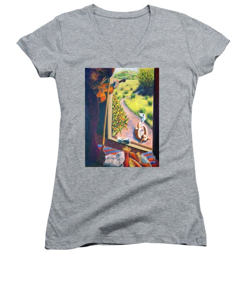 Women's V-Neck T-Shirt (Junior Cut) featuring the painting 01349 The Cat And The Fiddle by AnneKarin Glass