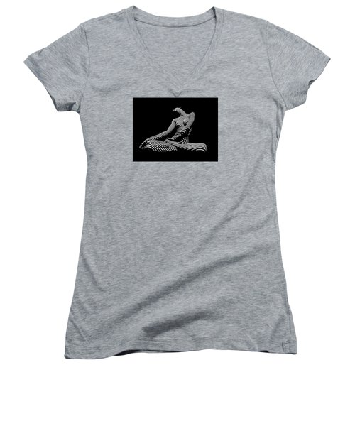 0174-dja Lotus Zebra Woman Sensual Feminine Black And White Figure Study Women's V-Neck T-Shirt (Junior Cut)