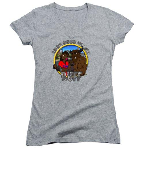 03 Look Good In The Buff Women's V-Neck T-Shirt (Junior Cut) by Michael Frank Jr