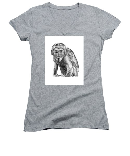 057 Madhula The Monkey Women's V-Neck T-Shirt (Junior Cut) by Abbey Noelle