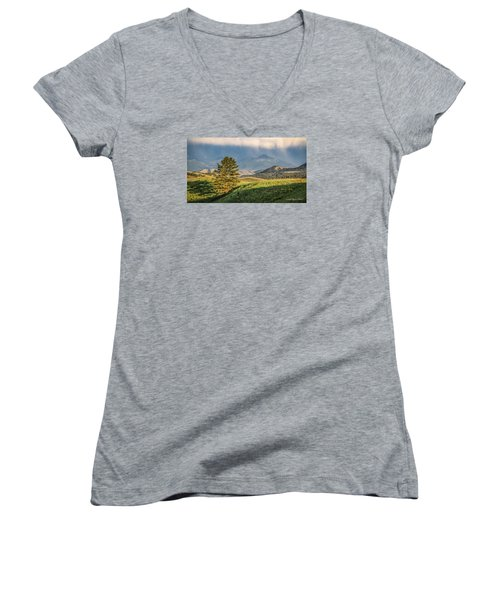 #0613 - Absaroka Range, Paradise Valley, Southwest Montana Women's V-Neck T-Shirt