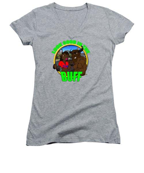 08 Look Good In The Buff Women's V-Neck T-Shirt (Junior Cut) by Michael Frank Jr