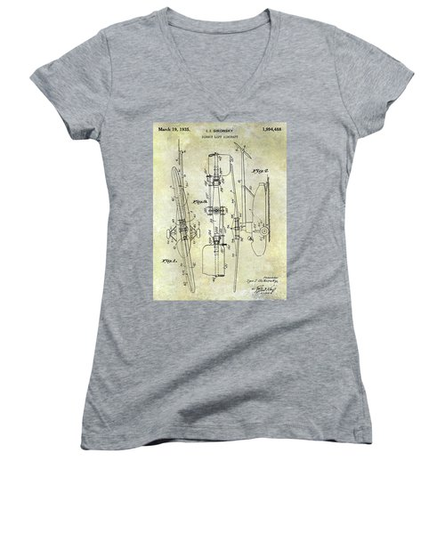 1935 Helicopter Patent  Women's V-Neck (Athletic Fit)
