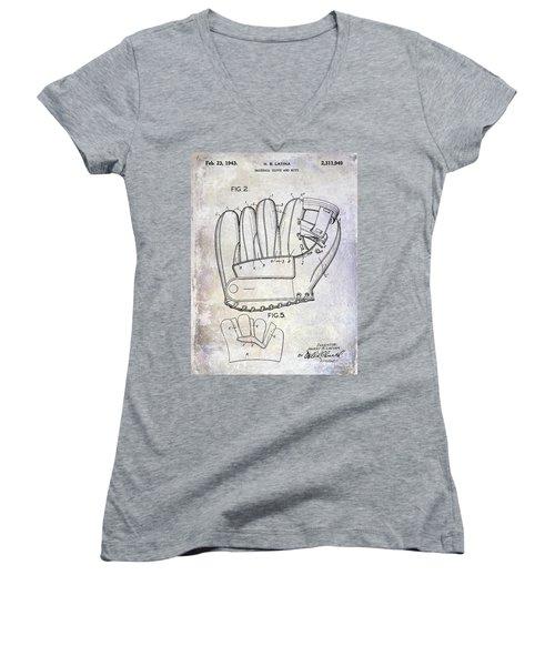 1943 Baseball Glove Patent Women's V-Neck T-Shirt (Junior Cut) by Jon Neidert