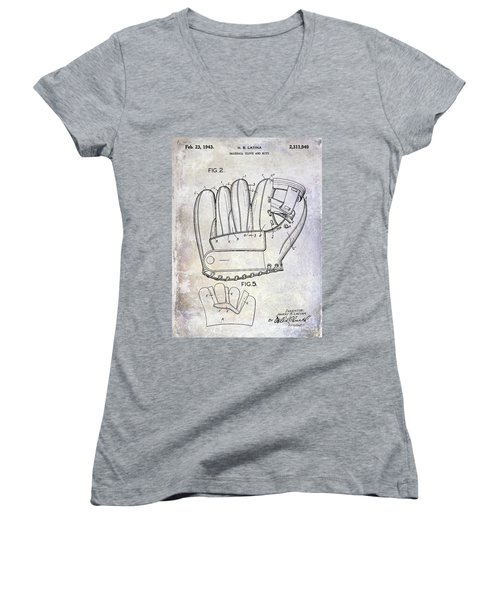 1943 Baseball Glove Patent Women's V-Neck T-Shirt
