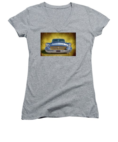 1955 Buick Women's V-Neck T-Shirt (Junior Cut) by Keith Hawley