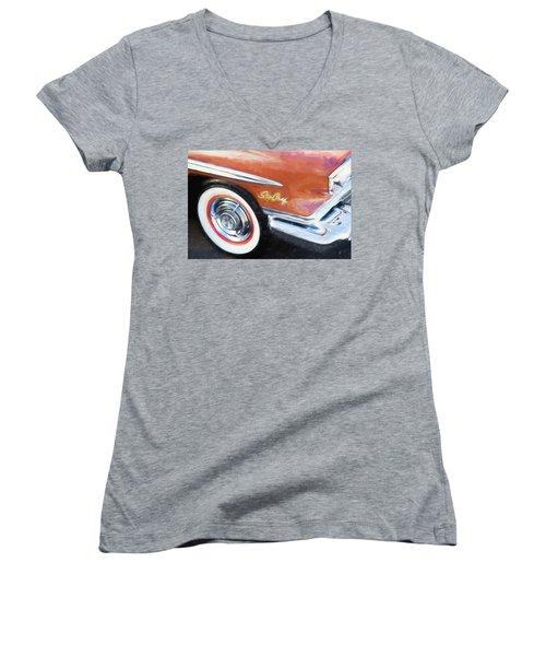 Women's V-Neck T-Shirt (Junior Cut) featuring the photograph 1958 Pontiac Star Chief  by Rich Franco