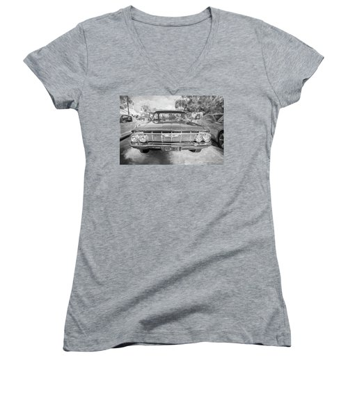 Women's V-Neck T-Shirt (Junior Cut) featuring the photograph 1961 Chevrolet Impala Ss Bw by Rich Franco