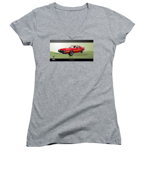 1969 Shelby V8 Gt350  Women's V-Neck (Athletic Fit)