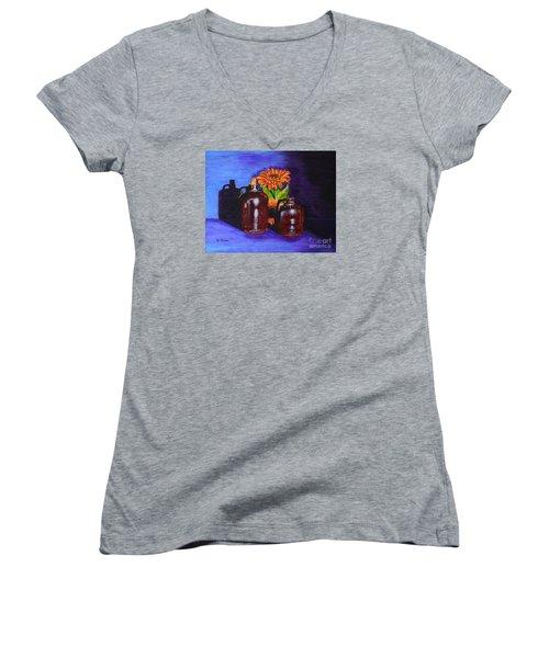 2 Old Jugs Women's V-Neck T-Shirt (Junior Cut) by Melvin Turner