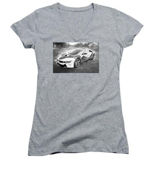 Women's V-Neck T-Shirt (Junior Cut) featuring the photograph 2015 Bmw I8 Hybrid Sports Car Bw by Rich Franco