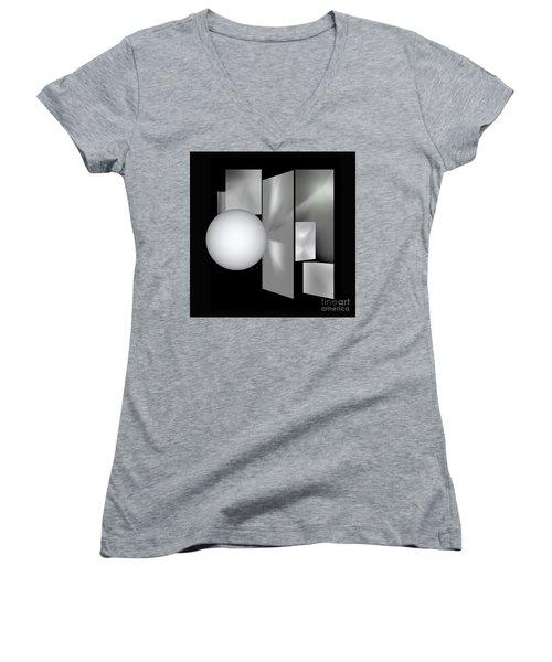 Women's V-Neck T-Shirt (Junior Cut) featuring the digital art 1-2017 by John Krakora