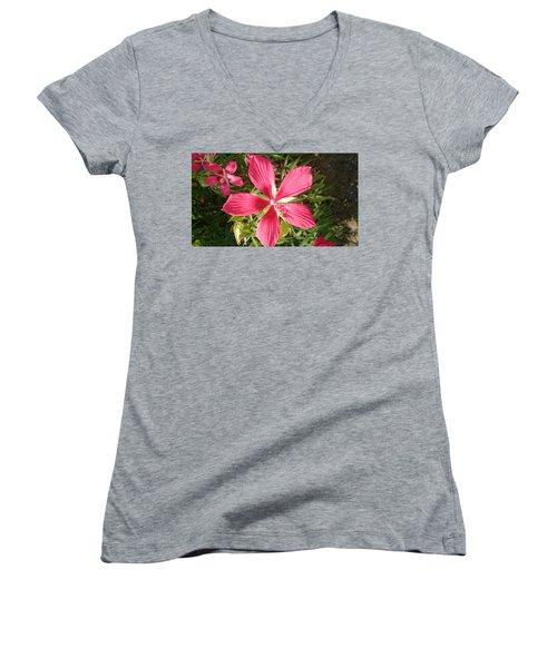 Hibiscus Coccineus Women's V-Neck (Athletic Fit)