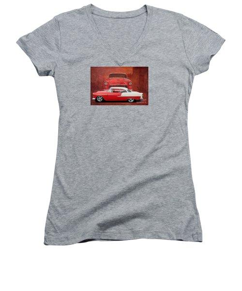 55 Chev Beauty Women's V-Neck T-Shirt