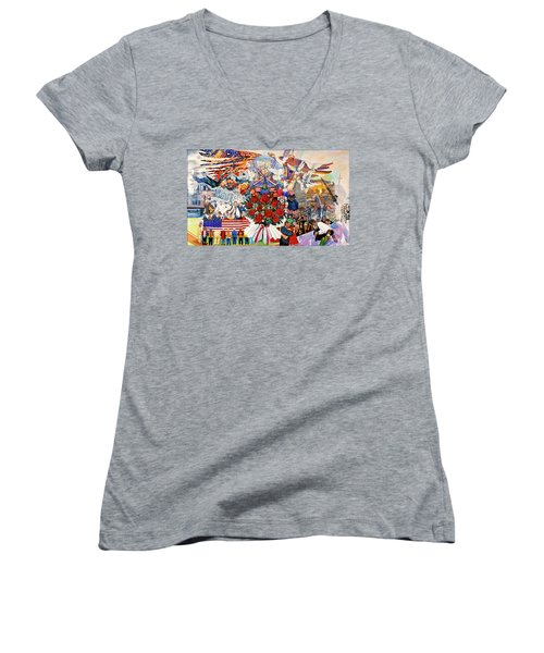 9/11 Memorial Women's V-Neck T-Shirt (Junior Cut) by Bonnie Siracusa