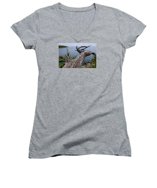 Women's V-Neck T-Shirt (Junior Cut) featuring the photograph A Different Point Of View by Sandra Updyke